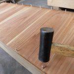 桐タンス修理、木地修理中、引出しの底板